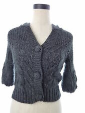 Guess Gray Alpaca Mohair Short Sleeve Hooded Sweater Crop Cardigan X Small XS
