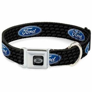 Buckle-Down Ford Logo Black Medium Seatbelt Buckle Dog Collar - DC-WFE004-M