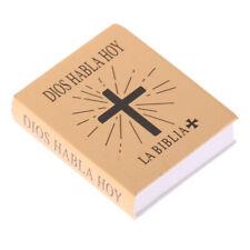 1: 6ème échelle La Sainte Bible Livre Lisible Dollhouse Miniature Books Gold