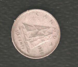 CANADA 10 CENTS 1950 SILVER