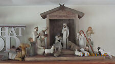 Vintage Barn Wood Handcrafted Creche For Willow Tree Nativity Set