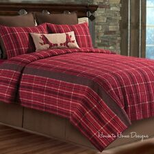COLLIN RED PLAID ** King ** QUILT SET : BROWN COUNTRY CABIN LODGE STRIPE BED