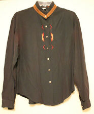 Ladies Roughrider by Circle T Green Blouse Brown Suede Trim Collar XS