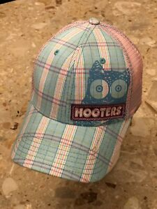 Hooters Women's Hat Pink One Size Adjustable Snap Back Mesh Plaid Hooters Owl