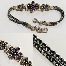 """Natural Faceted Amethyst Gemstone 925 Sterling Silver Flower Bracelet Up To 8"""""""