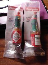 TABASCO Brand Pepper Sauce 2 Hot Sauce Miniature Glass Mini Bottles 1/8oz New