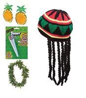 ADULT JAMAICAN RASTA HAT W/DREADLOCKS GANJA LEAF GLASSES BOB MARLEY FANCY DRESS