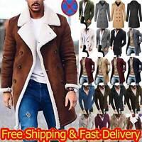 Men's Lapel Trench Coat Outwear Winter Warm Overcoat Peacoat Jacket Casual Tops