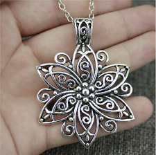 Fashion Simple Antique Silver Color 66*47mm Big Flower Pendant Necklace,50Cm