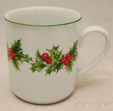 """Schmidt Porcelana Brasil CHRISTMAS HOLLY HOLIDAY SHM7 Mug(s) Excellent 3 1/2"""""""
