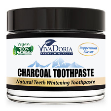 Viva Doria Activated Charcoal Whitening Toothpaste - Peppermint (3 oz glass jar)