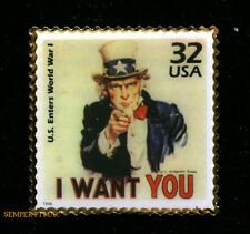 UNCLE SAM I WANT YOU STAMP HAT PIN PATROTIC US ARMY MARINES NAVY AIR FORCE GIFT