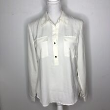 Banana Republic Womens Top White Sheer Half Button Up Long Sleeve Size Small