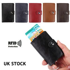 Credit Card Holder Leather RFID Blocking Small Metal Wallet Money Clip Bag Case