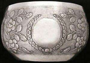 Antique Vintage Burmese Repousse 600 Silver Thabeik Bowl Water Offering Flowers