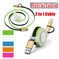 HIGH SPEED Retractable Anti-wrap 2in1 Type-C&Micro USB Data Charger Cable Lot