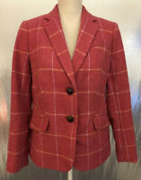 Talbots Womens Sz 10 Pink Yellow Plaid Lined Wool Blend Two Button Blazer NWT