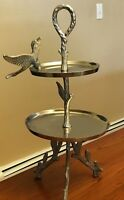 """Two-Tiered Cake Stand Serving Tray with Bird and Tree Branch Design 19"""" H Metal"""
