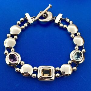 Retro Sterling Silver Amethyst Citrine Blue Topaz Slide Charm Toggle Bracelet
