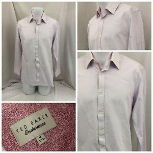 Ted Baker Dress Shirt 16 32/33 Pink Polka Dot 100% Cotton YGI V1-346