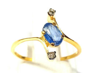 10k Solid Gold Handicraft Design Blue Sapphire Gemstone Fashion Jewelry Rings