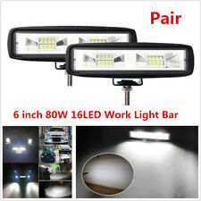 2Pcs 6Inch 80W 16LED Work Light Bar Offroad Driving Fog Lamp Flood Beam 4WD SUV