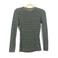 Smartwool Womens sz XS Green Printed Long Sleeve Merino Wool Base layer Sweater