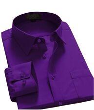 Men's Regular Fit Long Sleeve Solid Color One Pocket Casual Dress Shirt Purple