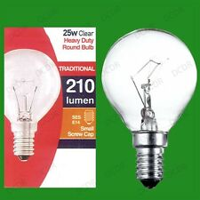 2x 25W Clear Dimmable Golf Round Light Bulbs Small Edison Screw, SES, E14, Lamps