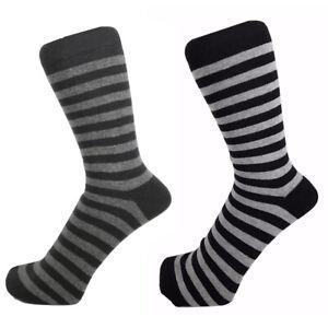 Men Black and Grey Striped Cotton Rich Ankle Socks Size 6 - 11