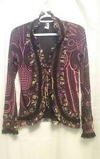 Jean Paul Gaultier Soleil Bright print Tie front Ruffle Long Sleeve Blouse top