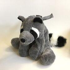 "Mary Meyer Flip Flops Grey Raccoon Plush Soft Toy Stuffed Gingham Bow 11"""