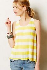 Anthropologie NWOT Maeve Size 12 Yellow Citron Pleated Striped Tank