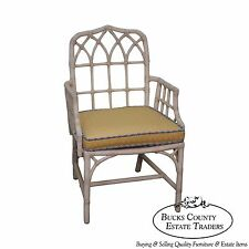 McGuire Chinese Chippendale Style Rattan Arm Chair