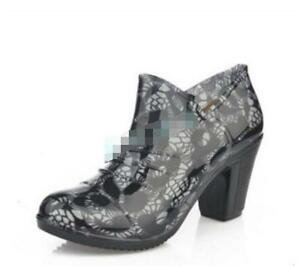 Vogue Womens Chunky Heels Round Toe Ladies Ankle Boots Rain Waterproof Shoes Hot