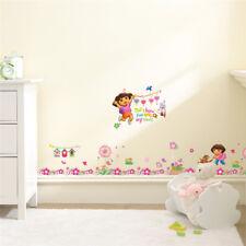 Dora The Explorer Flowers Wall Stickers Kids Room Baseboard Decoration Cartoon