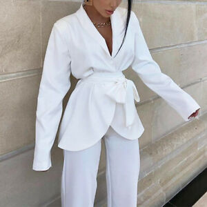 2021 New Fashion Solid Color Long-sleeved Suit Jacket Two-piece Loose Pants