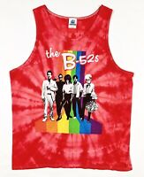 Retro Tie Dye The B-52's Tank Top Colortone Mens Large Red T Shirt *FREE SHIP!*