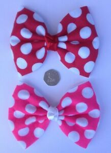 Red or Pink Polka Dot Minnie Mouse Hair Bow 2 Sizes Alligator Clip Brooch Pin