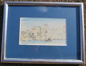 Framed Hugh Casson Ink & Watercolour Painting 'Valetta, Malta'