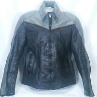Vintage Tour Lion Rex Marsee Black Gray Leather Motorcycle Jacket Mens 46 Biker
