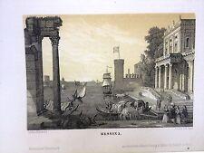 MESSINA, litografía original 1840 V.SCHWAHE. SICILIA