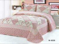 Patchwork Quilted Bedspread Bed Throw Comforter Bedding Set King - GS 8039