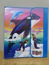 Vintage 90's Lisa Frank Stuart Hall 3 Ring Binder Dolphins Penguins