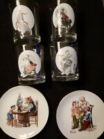 LOT of 6 SATURDAY EVENING POST NORMAN ROCKWELL COLLECTIBLE GLASSES & PLATES VGC