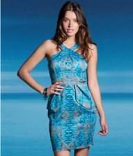 Lipsy Blue Silver Peplum Iceberg Dress Size 14 BNWT Cross front