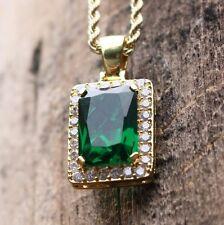 Mini Square Emerald Green Gem Stone Pendant Charm Ruby Necklace