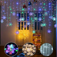 Christmas LED Curtain Window Snowflake String Fairy Lights Waterproof Decor