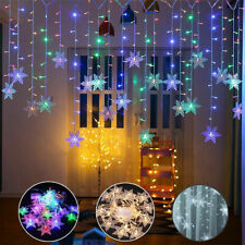 Christmas LED Curtain Window Snowflake String Fairy Lights Waterproof Xmas Decor