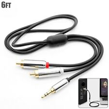 "6FT Premium 3.5mm 1/8"" Stereo Male to 2 RCA Male Y Splitter Audio Cable Gold"